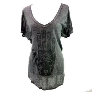 Project Social T Gray & Black Hamsa Tee Size M